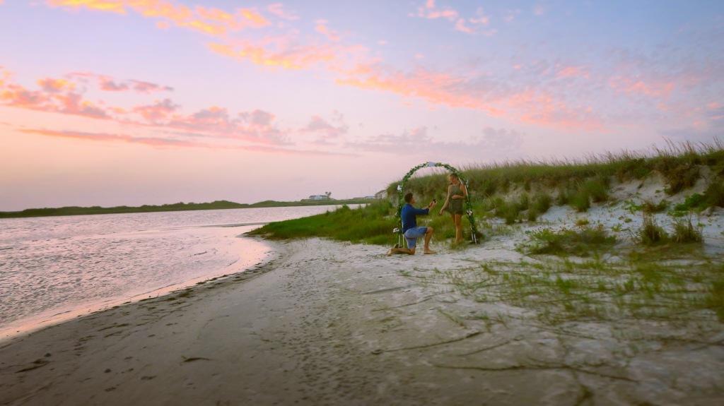 Corpus Christi sunset beach proposal during summertime