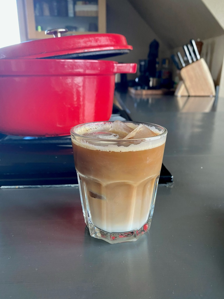 an iced espresso with brown sugar and oat milk